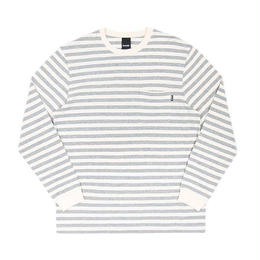 ONLY NY NAUTICAL STRIPE L/S POCKET T-SHIRT (HEATHER GREY/WHITE, WHITE/BLACK)