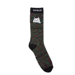 RIPNDIP PEEK A NERMAL SOCKS (SPACE YARN DYE, RASTA DYE)