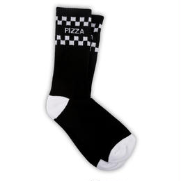 PIZZA Check Socks (White, Black)