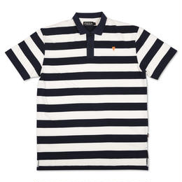 PIZZA Emoji Striped Polo Shirt (Navy/Cream)