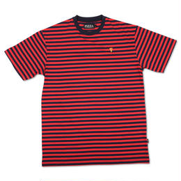 PIZZA Emoji Striped Tee (Red/Navy)