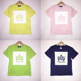 ATTACK KIDS BOX LOGO TEE (LT YELLOW, PINK, LIME, INDIGO)