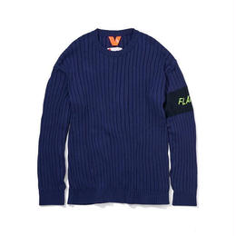 FLATLUX Patrol Rib Sweater (navy, teal, heather)