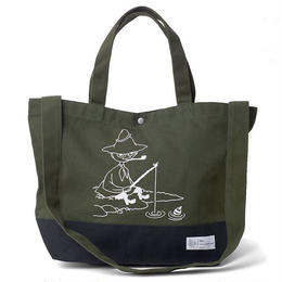 SNUFKIN x DL Headwear FISHING CANVAS TOTE BAG (olive/black, offwhite/navy)