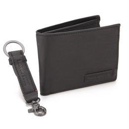 ヒューゴ・ボス (HUGO BOSS) 二つ折り財布小銭入れ付キーリングセット50247895 10167306 001ブラック