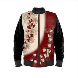 和柄蝶家紋 紅白 ボンバージャケット・ブルゾン