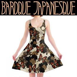 華と蝶 ジャパネスクローズとバロック装飾 Aラインワンピース