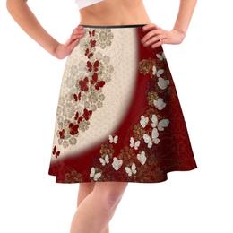 和風家紋装飾 桜家紋と蝶家紋 フレアスカート