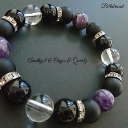 «men's»アメジストとオニキスと水晶の数珠ブレスレット