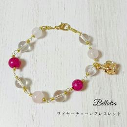 ワイヤーチェーンのブレスレット(ローズクォーツ・爆裂水晶マゼンタ・水晶)