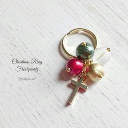 クリスマスリング クリスマスカラーのコットンパールとフロスト水晶の指輪