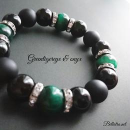 «men's»グリーンタイガーアイとオニキスの数珠ブレスレット