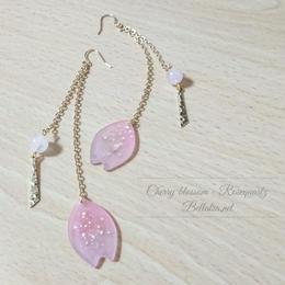 さくらピアス 桜×ローズクォーツ