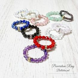 天然石の指輪。各5種類(ジェード、フロスト水晶、オニキス、チェリークォーツ、ホワイトオパール)