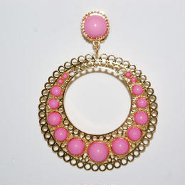 Pendientes Tamboril rosa y oro