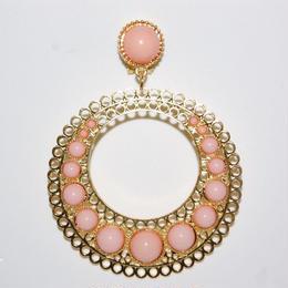 Pendientes Tamboril rosa nude y oro