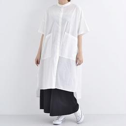 [1275op]ビッグポケットノーカラーシャツワンピース