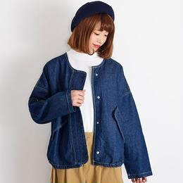 [1018ot]ノーカラーデニムジャケット