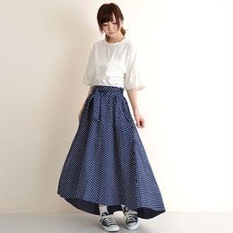 [0820tp]ドット柄ウエストリボンテールカットスカート