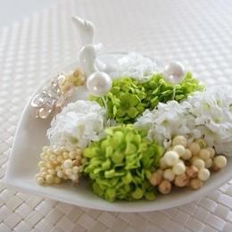ウェディングやプレゼントにピッタリ♪白鳥のリングピロー(緑)