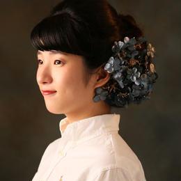 ダークブルーとゴールドの組み合わせ♪紫陽花のヘッドドレス