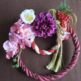 艶やかな新年を彩る♪蘭とダリアの和リース (しめ縄)