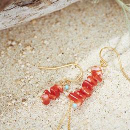 赤珊瑚アシンメトリーピアス