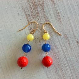 3色マルチピアス(イエローメノウ、青メノウ、ビーズ)