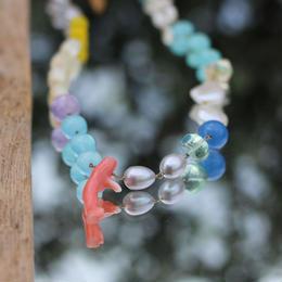 桃珊瑚のカラフルネックレス