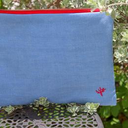 珊瑚刺繍 デニムポーチLサイズ(ブルー)