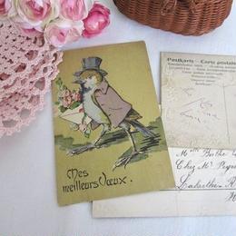花束を持ったスズメのポストカード