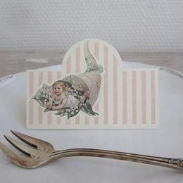 ピンクストライプ鈴蘭と子供柄の席札12枚セット