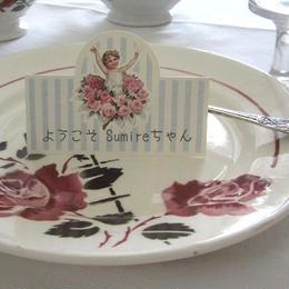 水色ストライプ子供と薔薇柄の席札12枚セット