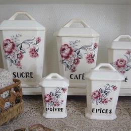 ピンクの薔薇とカーネーション柄陶器キャニスター5つセット