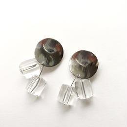 silver metal clear drop pierce
