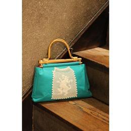 ターコイズブルー*木の持ち手バッグ