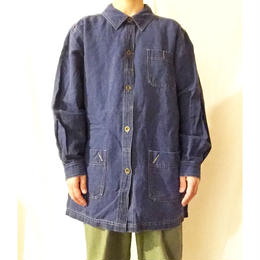 インディゴ リネンコットン 3つポケット ジャケット/古着 ビンテージ