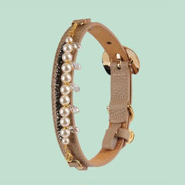 Mademoiselle Dog Collar DARK BEIGE