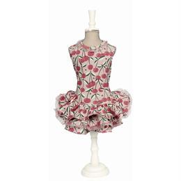 "DRESS""GISELLE""   CHERYY PATTERN ON OLD ROSE BACKGROUND"