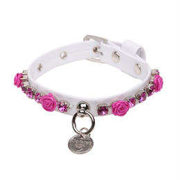 COLLAR  ''ROSE''  WHITE WITH FUCHSIA APPLICATION