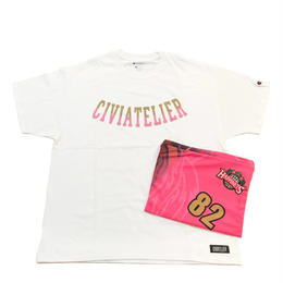 """Civiatelier  """"HAPPINETS"""" Model Complete Pack  T-shirts&Clutch Bag 【WHITE×PINK XL】"""