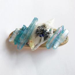 染め水晶と貝殻の夏バレッタ