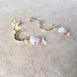 月とハーキマーダイヤモンド&ピンクトルマリン ピアスorイヤリング