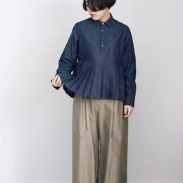 manon/4oz denim p/o pleats shirt(navy)