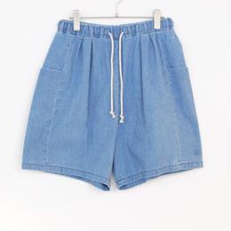 3tsui/気をつけポッケのデニムショートパンツ( blue)
