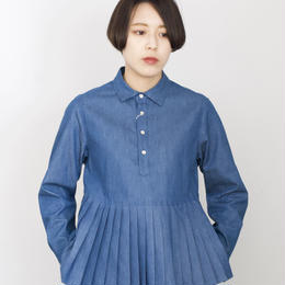 manon/4oz denim p/o pleats shirt(blue)