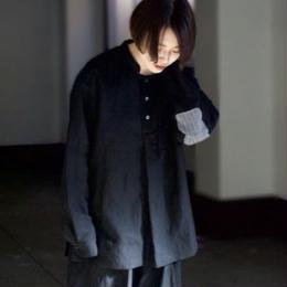 """rikolekt/""""linen"""" shirt(black)"""