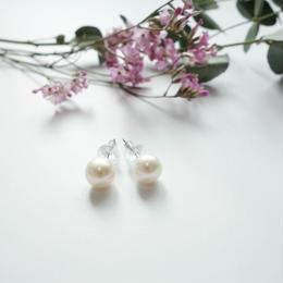 plain pearl pierced earrings  6-6.5mm