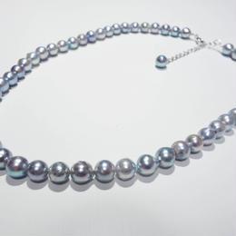 あこや真珠 ブルーグレー・バロックパール ネックレス 7mm ◆わけあり◆
