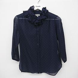 【Ladie's】MARGARET HOWELL ドット柄フリルシャツ(115)